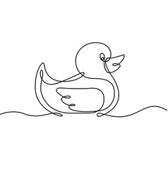 Rubber duck continuous line vector