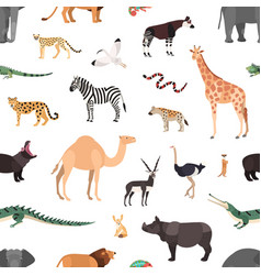 seamless pattern with exotic animals on white vector image