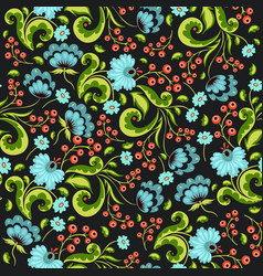 seamless pattern with flowers and berries vector image