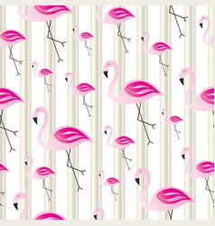 seamless striped pattern with flamingos vector image