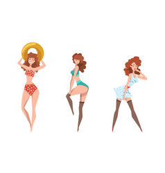 seductive pin up girls set beautiful sensual vector image