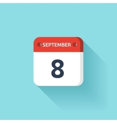 September 8 Isometric Calendar Icon With Shadow vector