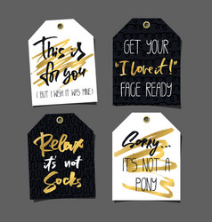 set 8 funny gift tags lettering and doodles vector image