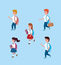 set girls and boys students with backpack and vector image