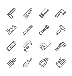 Set line icons of hand tool vector image