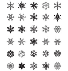 set of different black snowflakes vector image
