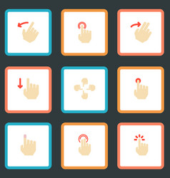 set of gestures icons flat style symbols with vector image