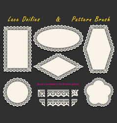 Set of openwork white lace pattern brush and vector