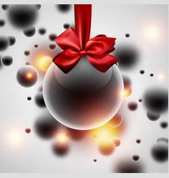 shiny new year background with christmas ball vector image
