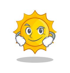 Smirking cute sun character cartoon vector