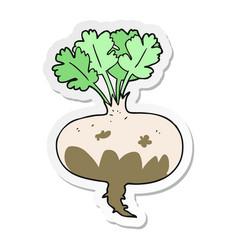 Sticker of a cartoon muddy turnip vector