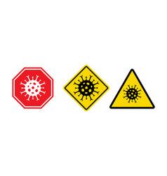 Stop coronavirus covid 19 quarantine signs vector