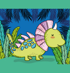 Styracosaurus prehistoric dino animal with plants vector