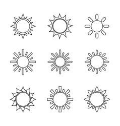 Sun symbols set vector image