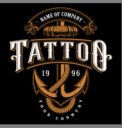 Tattoo lettering with anchor for dark background vector