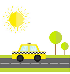 taxi car cab icon on the road green grass tree vector image
