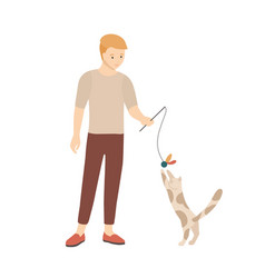 teenage boy playing with his cat male character vector image