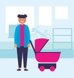 teenager with baby pram in the room vector image