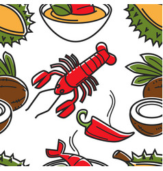 Thailand food fruits vegetables and seafood vector