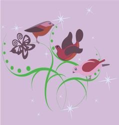 Three cute little birds vector