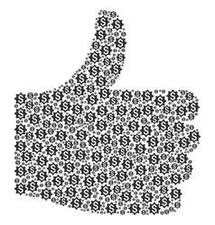 thumb up shape of money award icons vector image