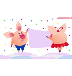 two pigs hanging the banner vector image