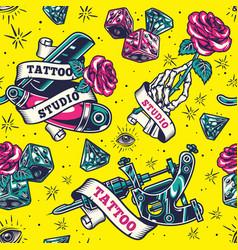 vintage tattoo studio colorful seamless pattern vector image