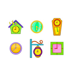 Wallclock icon set cartoon style vector