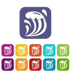 Wave icons set flat vector