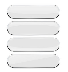 White oval buttons with metal frame vector