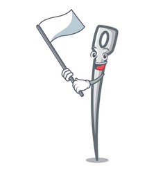 with flag needle mascot cartoon style vector image