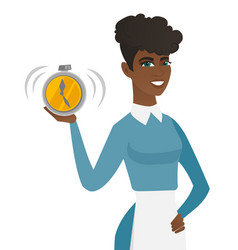 Young african-american cleaner holding alarm clock vector