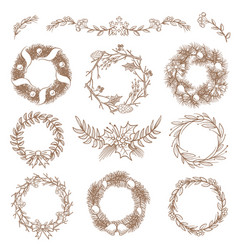 Christmas hand drawn wreaths border frames with vector