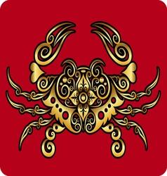 Golden crab ornament vector image vector image
