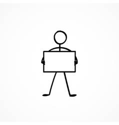 Stick figure with a sign plate vector image