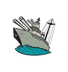 World War Two Battleship Cartoon vector image vector image