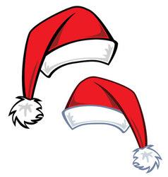 2 cartoon Santa hats vector image vector image