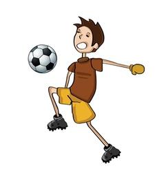 kid playing football vector image vector image