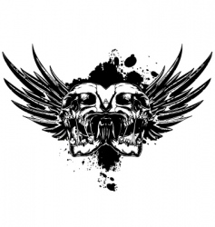 skull with wings and splashes vector image vector image