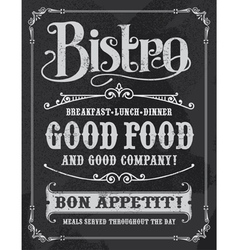 Bistro vintage chalkboard poster sign vector image