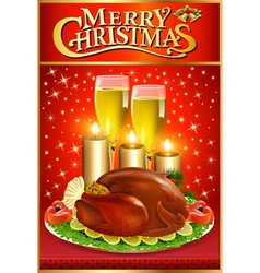 Christmas greeting card with turkey and candles vector image vector image
