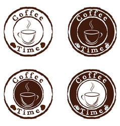 coffee time stamps set vector image vector image