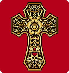Golden cross ornament vector image vector image