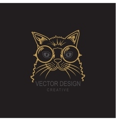 Hand Drawn of Cat Hipster with big vector image