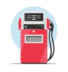 Modern red fuel dispenser over white background vector image