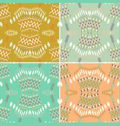 set of ethnic seamless pattern aztec geometric vector image