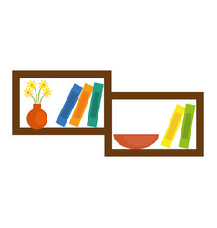 Shelf with decorative objects vector