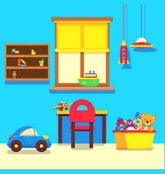 baby room interior with window work place and vector image