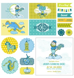 Baby Shower Little Prince Boy Set vector image vector image