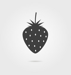 black strawberries icon with shadow vector image vector image